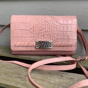 BRIGHTON Pink Croc Crossbody Wallet